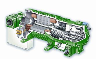 Разрез полугерметичного винтового компрессора Bitzer для СО2