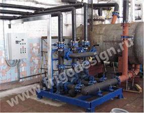 Насосный агрегат Фригодизайн для обеспечения циркуляции водного раствора CaCl в системе охлаждения технологических аппаратов.