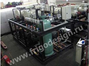 Установка охлаждения этиленгликоля на компрессорах J&E Hall, изготовленная компанией «Фригодизайн» для ОАО «Химфармзавод»